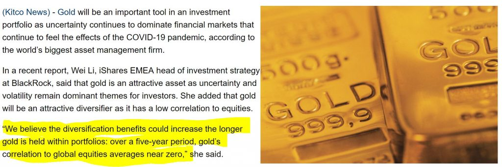 gold diversification benefits blackrock investment institute
